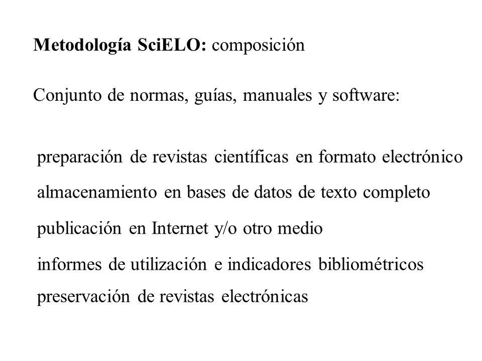 Conjunto de normas, guías, manuales y software: preparación de revistas científicas en formato electrónico almacenamiento en bases de datos de texto c