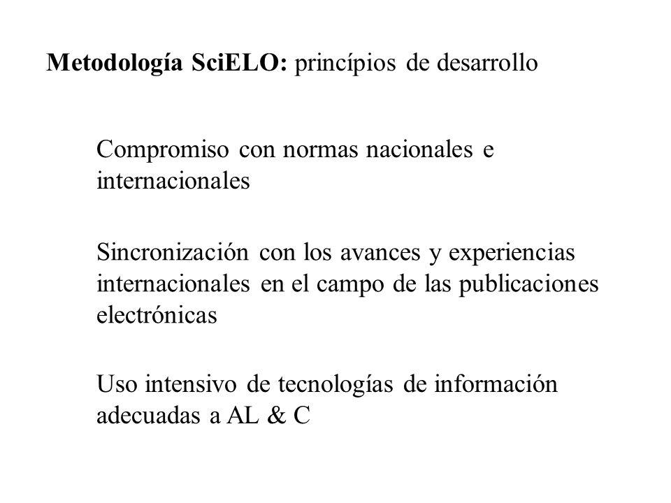 Compromiso con normas nacionales e internacionales Sincronización con los avances y experiencias internacionales en el campo de las publicaciones elec