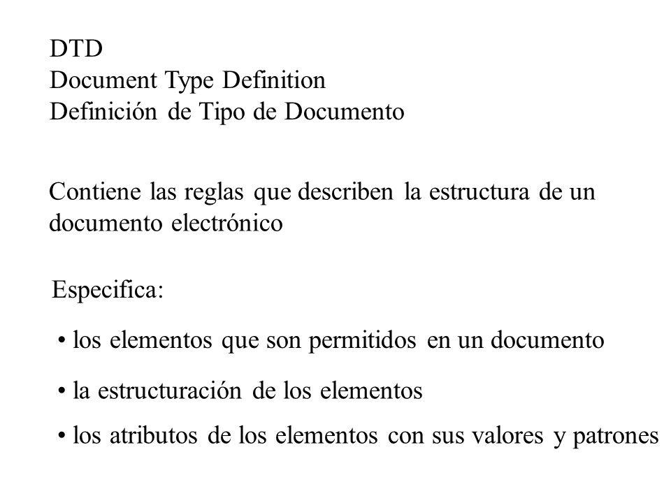 Contiene las reglas que describen la estructura de un documento electrónico Especifica: los elementos que son permitidos en un documento los atributos
