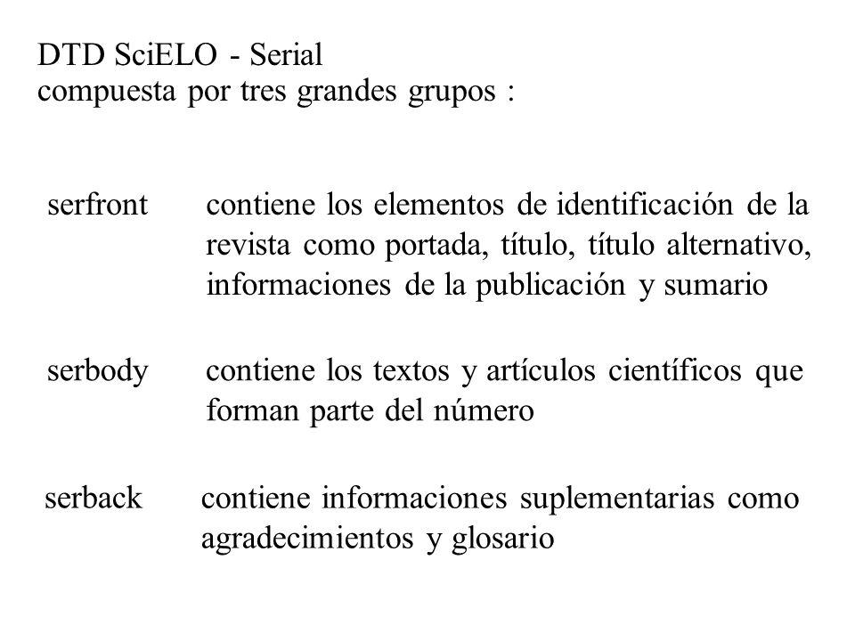 DTD SciELO - Serial compuesta por tres grandes grupos : serfront serbody serback contiene los elementos de identificación de la revista como portada,
