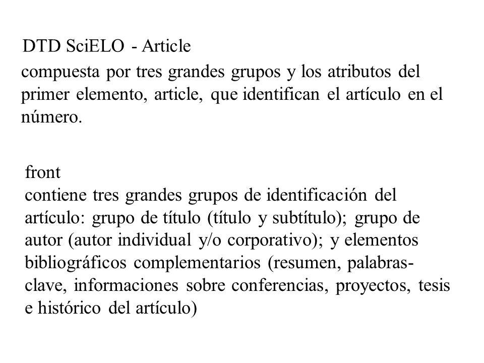 DTD SciELO - Article front contiene tres grandes grupos de identificación del artículo: grupo de título (título y subtítulo); grupo de autor (autor in