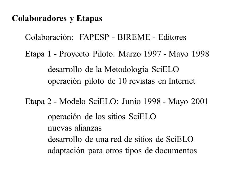 Colaboradores y Etapas Colaboración: FAPESP - BIREME - Editores Etapa 1 - Proyecto Piloto: Marzo 1997 - Mayo 1998 desarrollo de la Metodología SciELO