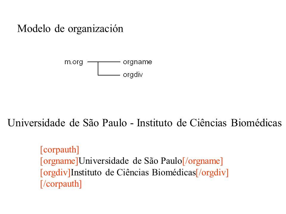 Modelo de organización [corpauth] [orgname]Universidade de São Paulo[/orgname] [orgdiv]Instituto de Ciências Biomédicas[/orgdiv] [/corpauth] Universid