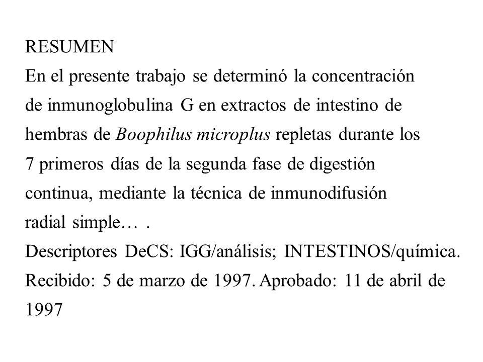 RESUMEN En el presente trabajo se determinó la concentración de inmunoglobulina G en extractos de intestino de hembras de Boophilus microplus repletas