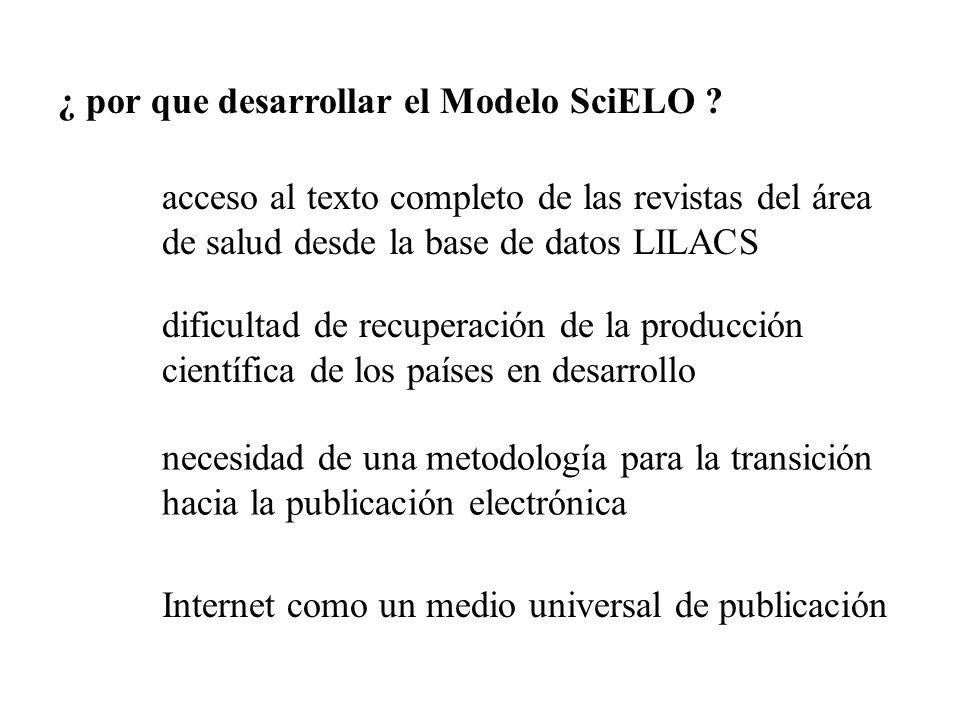 ¿ por que desarrollar el Modelo SciELO ? acceso al texto completo de las revistas del área de salud desde la base de datos LILACS dificultad de recupe