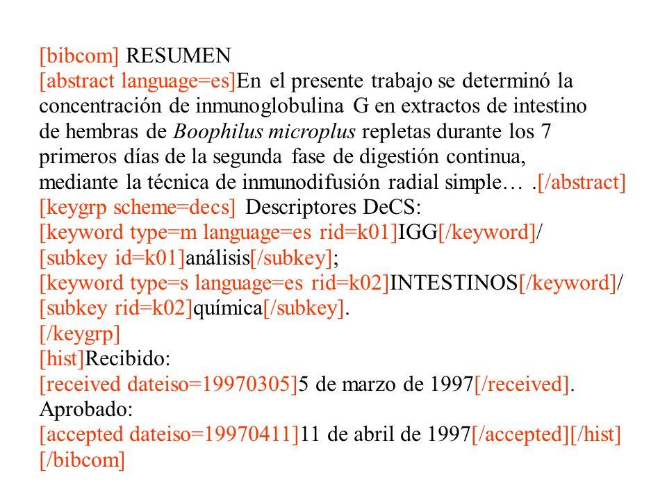 [bibcom] RESUMEN [abstract language=es]En el presente trabajo se determinó la concentración de inmunoglobulina G en extractos de intestino de hembras