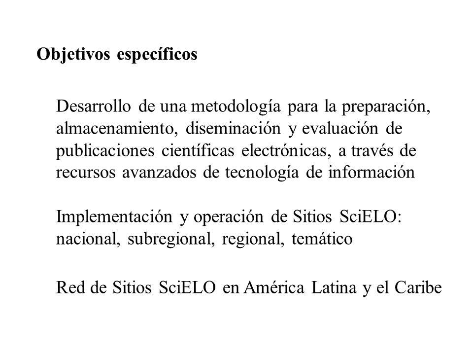 Objetivos específicos Desarrollo de una metodología para la preparación, almacenamiento, diseminación y evaluación de publicaciones científicas electr
