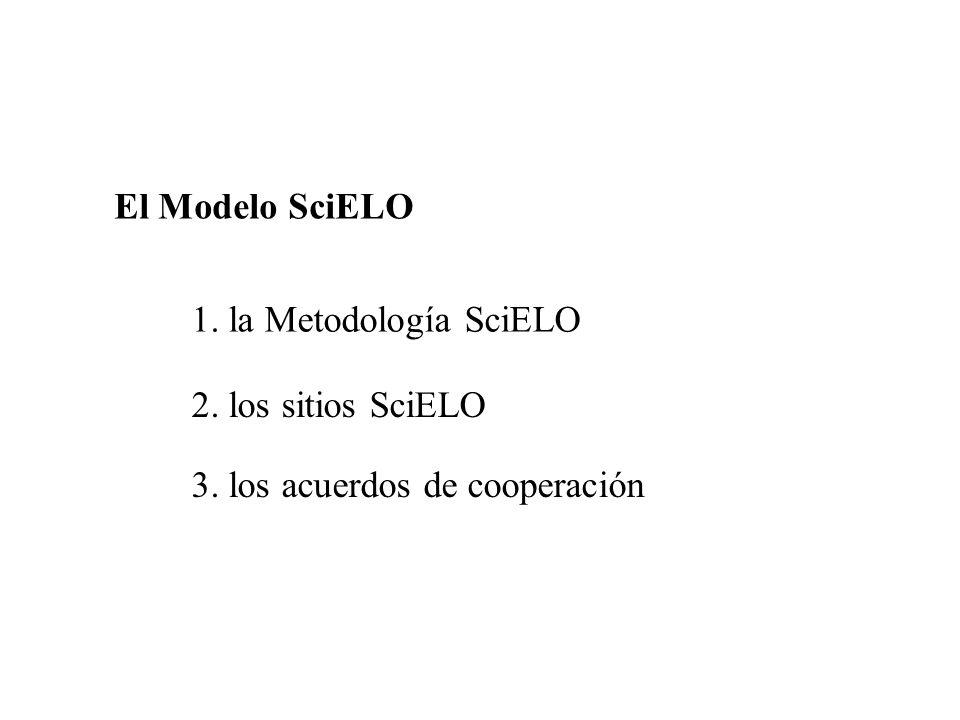 El Modelo SciELO 1. la Metodología SciELO 2. los sitios SciELO 3. los acuerdos de cooperación