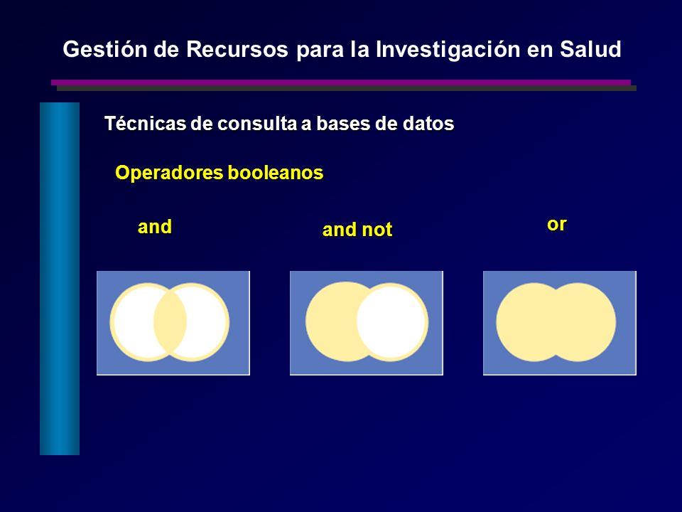 Operadores booleanos and or and not Técnicas de consulta a bases de datos Gestión de Recursos para la Investigación en Salud
