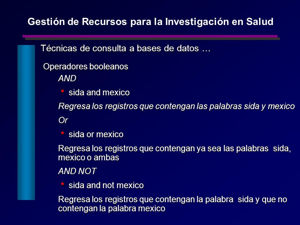 Operadores booleanos AND sida and mexico sida and mexico Regresa los registros que contengan las palabras sida y mexico Or sida or mexico sida or mexi