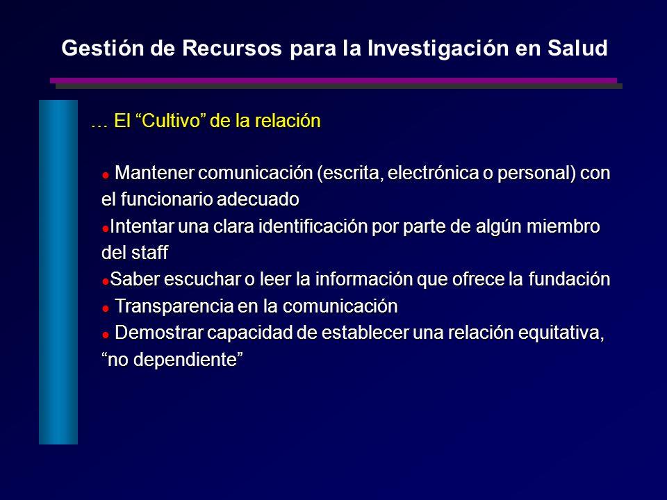 … El Cultivo de la relación Mantener comunicación (escrita, electrónica o personal) con el funcionario adecuado Mantener comunicación (escrita, electr