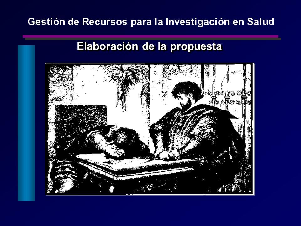 Elaboración de la propuesta Gestión de Recursos para la Investigación en Salud