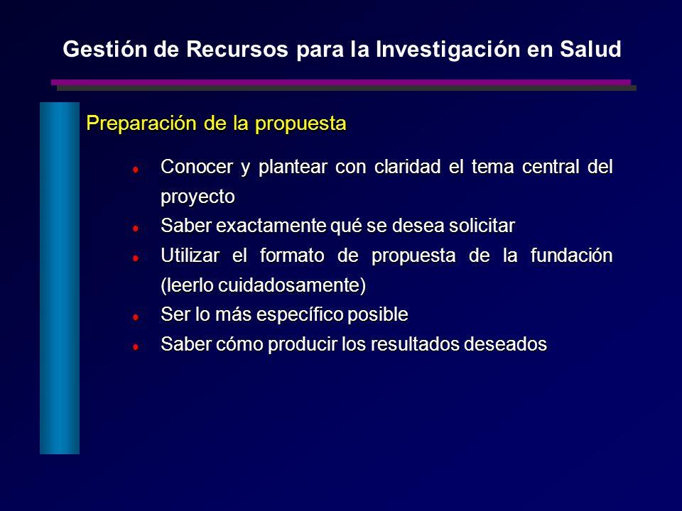 Preparación de la propuesta Preparación de la propuesta Conocer y plantear con claridad el tema central del proyecto Conocer y plantear con claridad e