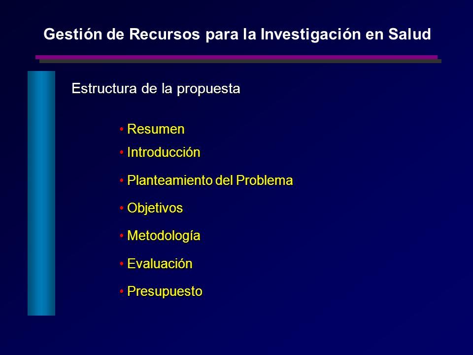 Estructura de la propuesta Resumen Resumen Introducción Introducción Planteamiento del Problema Planteamiento del Problema Objetivos Objetivos Metodol