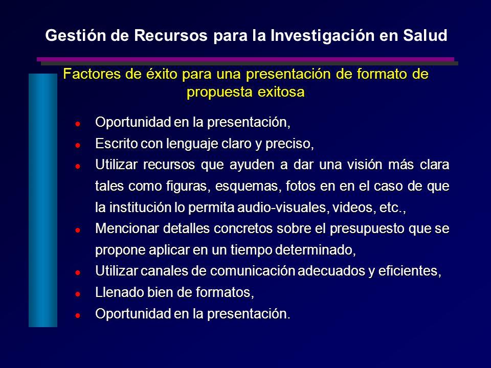 Factores de éxito para una presentación de formato de propuesta exitosa Oportunidad en la presentación, Oportunidad en la presentación, Escrito con le