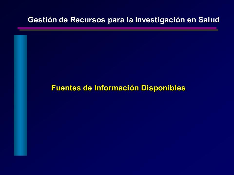 Fuentes de Información Disponibles Gestión de Recursos para la Investigación en Salud