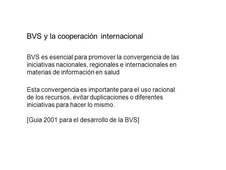 Health InternetWork - HIN - promovida por la OMS Portal de HIN - referenciar fuentes de información de la BVS Cooperación internacional con la BVS como estratégia para el desarrollo de las capacidades locales Uso de metodologías comúns para la operación de fuentes Research Network - promovida por Open Society y la OMS Acceso a las revistas científicas electrónicas internacionales BVS y la cooperación internacional