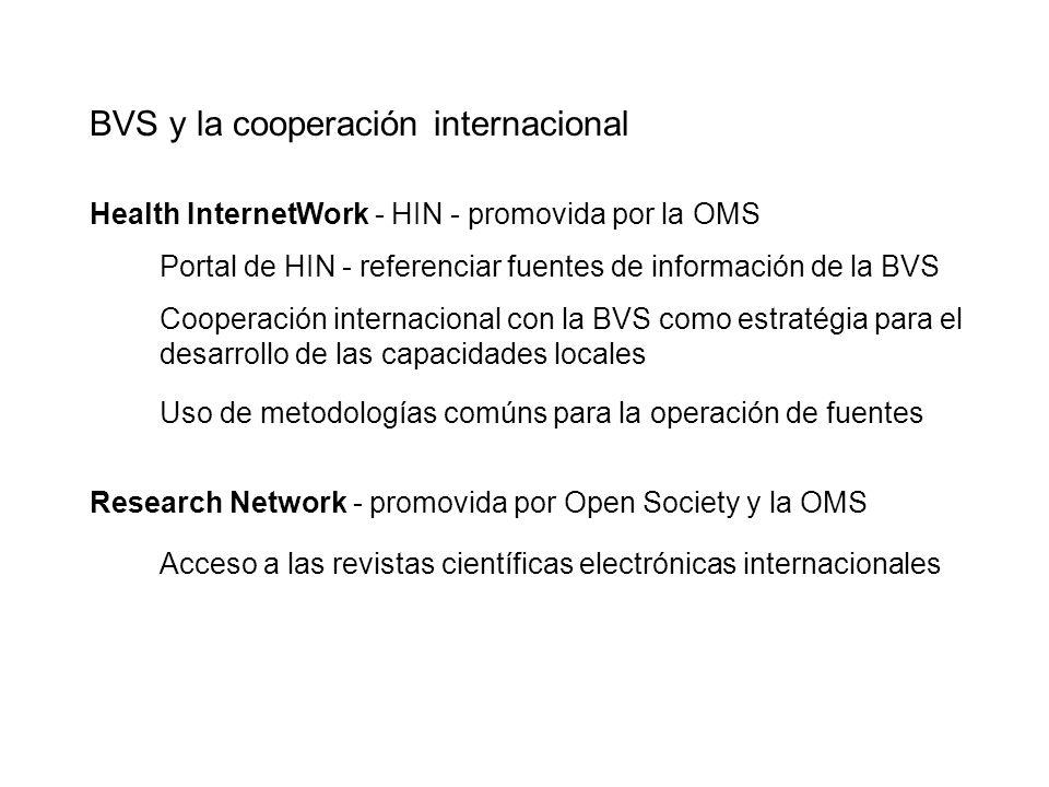 Health InternetWork - HIN - promovida por la OMS Portal de HIN - referenciar fuentes de información de la BVS Cooperación internacional con la BVS com