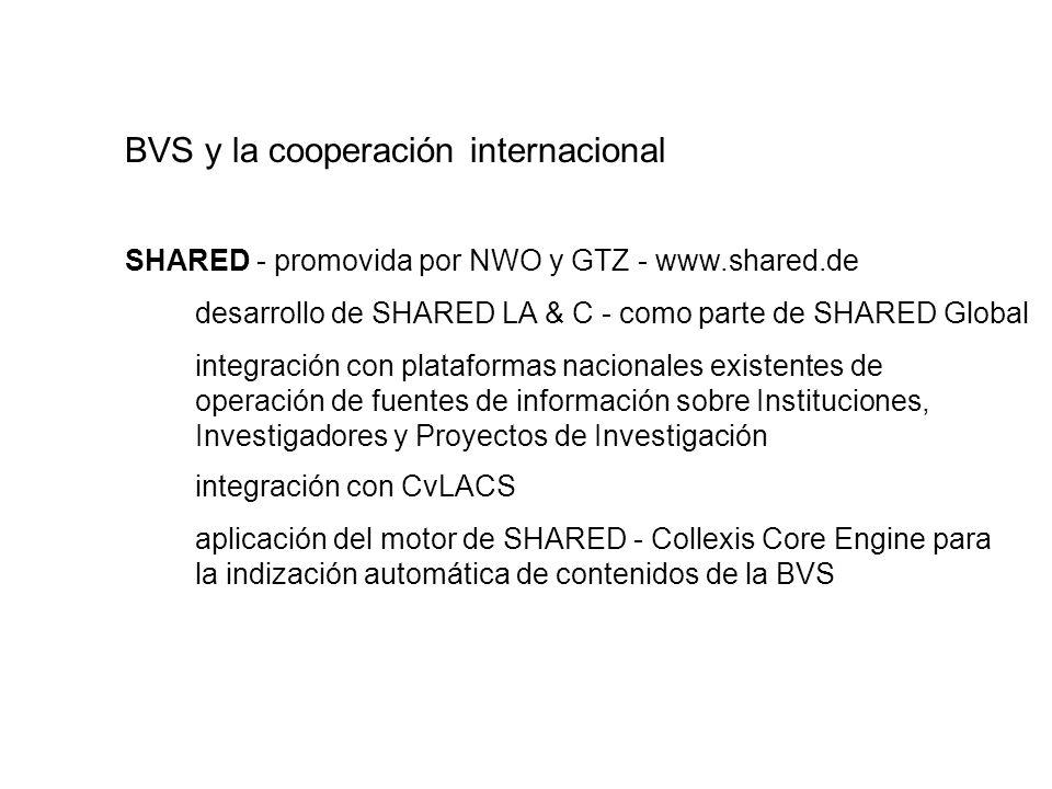 SHARED - promovida por NWO y GTZ - www.shared.de desarrollo de SHARED LA & C - como parte de SHARED Global integración con plataformas nacionales exis