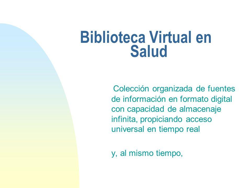 Biblioteca Virtual en Salud Plataforma virtual que permite interacciones entre productores, intermediarios y usuarios del conocimento para identificación de problemas, establecimento de redes de colaboración e intercambio de conocimentos e informaciones entre ellos.