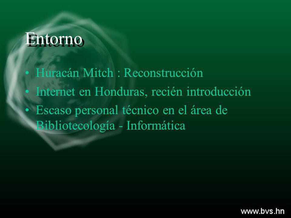 Entorno Huracán Mitch : Reconstrucción Internet en Honduras, recién introducción Escaso personal técnico en el área de Bibliotecología - Informática