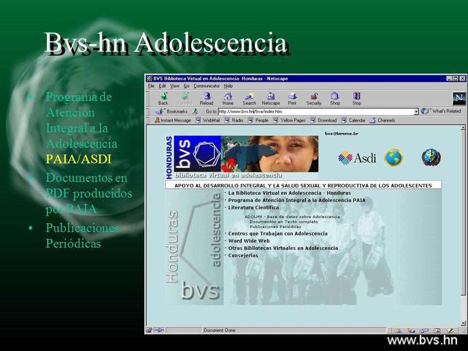 Bvs-hn Adolescencia Programa de Atención Integral a la Adolescencia PAIA/ASDI Documentos en PDF producidos por PAIA Publicaciones Periódicas
