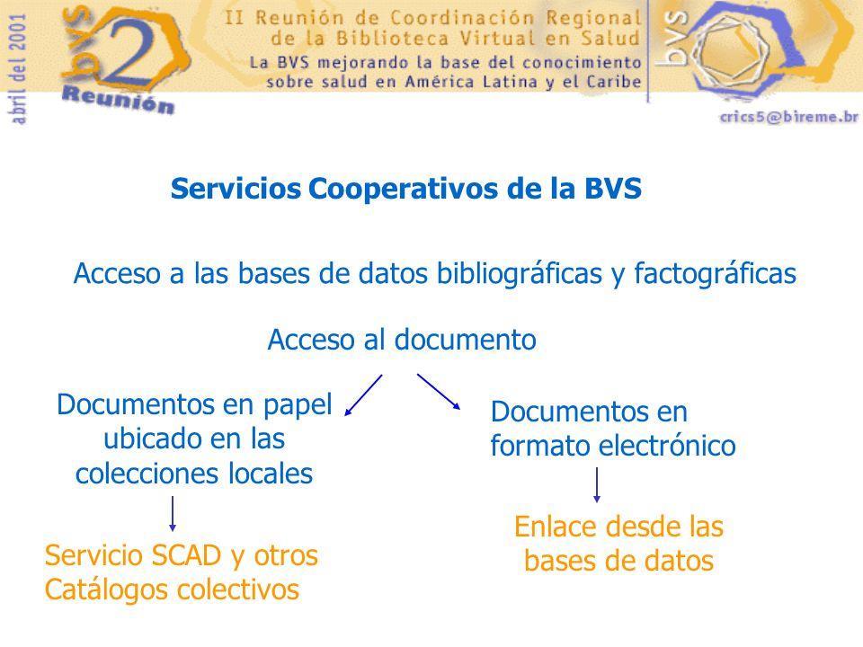 Servicios Cooperativos de la BVS Acceso a las bases de datos bibliográficas y factográficas Acceso al documento Documentos en formato electrónico Docu