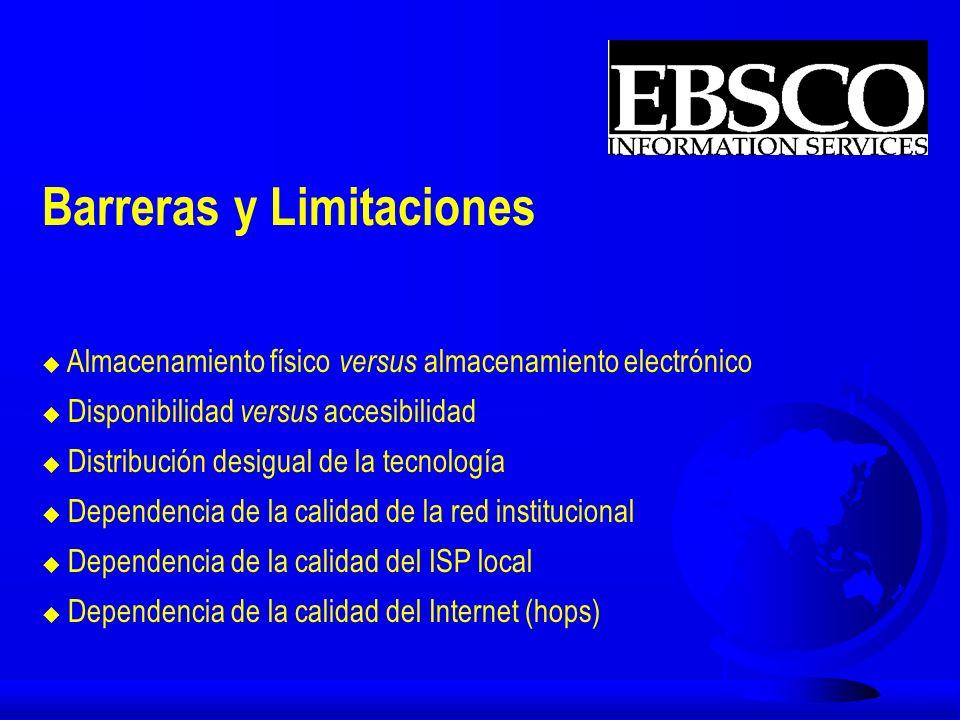 SOFT-LINKING è de bases de datos con licencia / referenciales en el EBSCO host al EBSCO Online (60) è de otros proveedores de bases de datos al EBSCO Online è Todas las bases de datos de SilverPlatter a través de Silverlinker è del Web of Science al EBSCO Online è CrossRef (10 primero /ahora 33) è Proyecto SFX (Ex-Libris / Aleph)