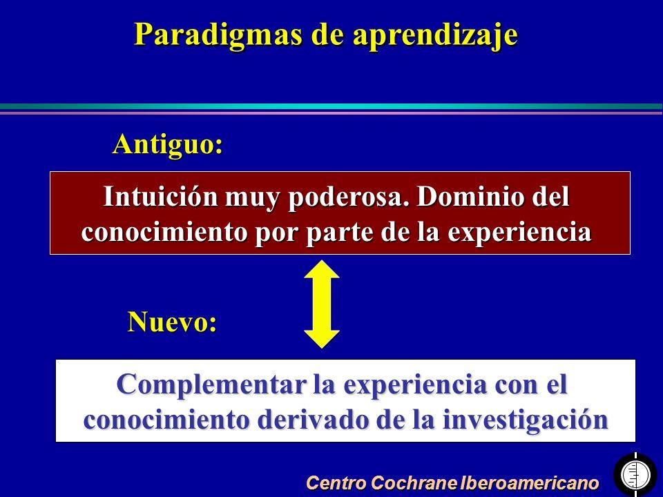 Centro Cochrane Iberoamericano Intuición muy poderosa. Dominio del conocimiento por parte de la experiencia Complementar la experiencia con el conocim