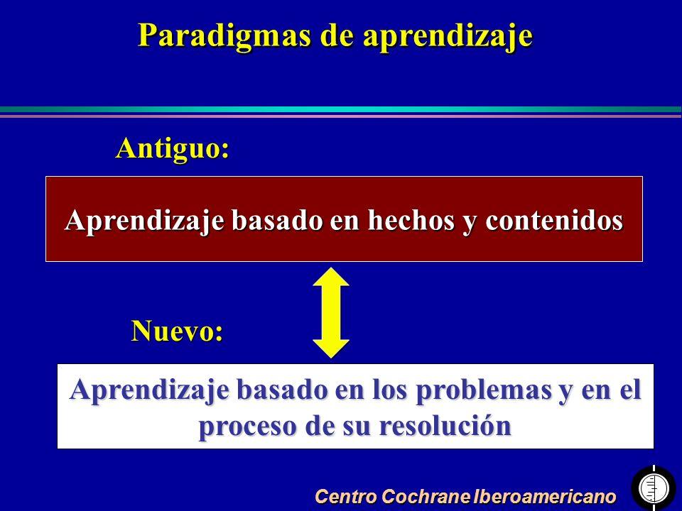 Centro Cochrane Iberoamericano Aprendizaje basado en hechos y contenidos Aprendizaje basado en los problemas y en el proceso de su resolución Antiguo: