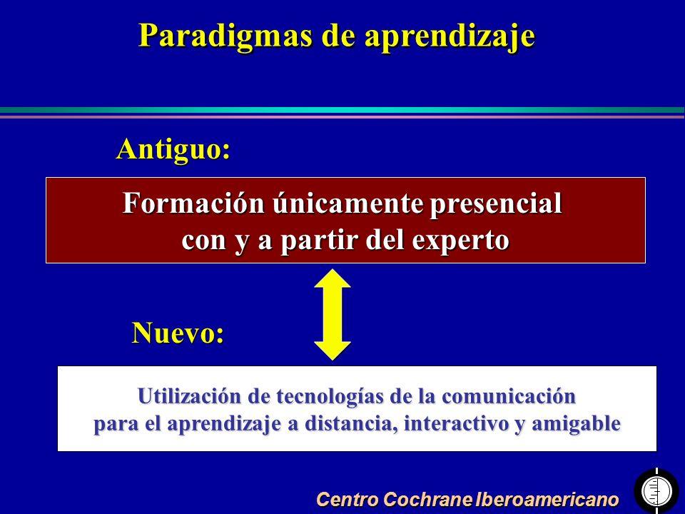 Centro Cochrane Iberoamericano Formación únicamente presencial con y a partir del experto Utilización de tecnologías de la comunicación para el aprend