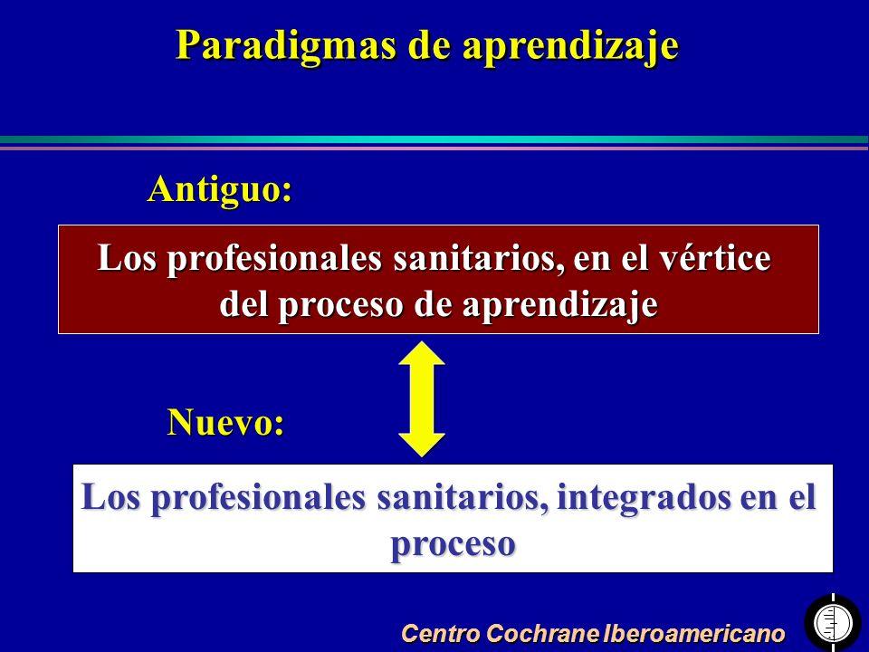 Centro Cochrane Iberoamericano Los profesionales sanitarios, en el vértice del proceso de aprendizaje Los profesionales sanitarios, integrados en el p