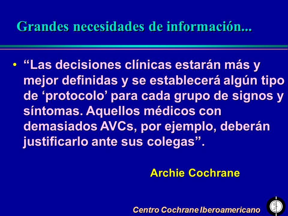 Centro Cochrane Iberoamericano Las decisiones clínicas estarán más y mejor definidas y se establecerá algún tipo de protocolo para cada grupo de signo
