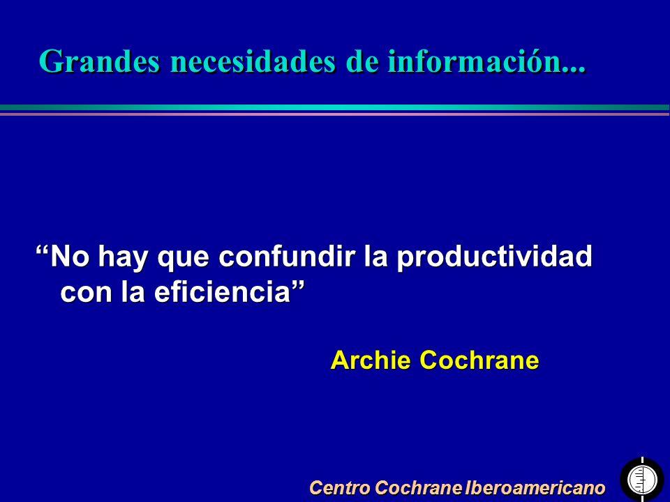 Centro Cochrane Iberoamericano No hay que confundir la productividad con la eficiencia Archie Cochrane Grandes necesidades de información...