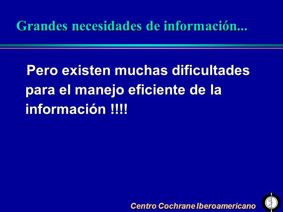 Centro Cochrane Iberoamericano Pero existen muchas dificultades para el manejo eficiente de la información !!!! Grandes necesidades de información...