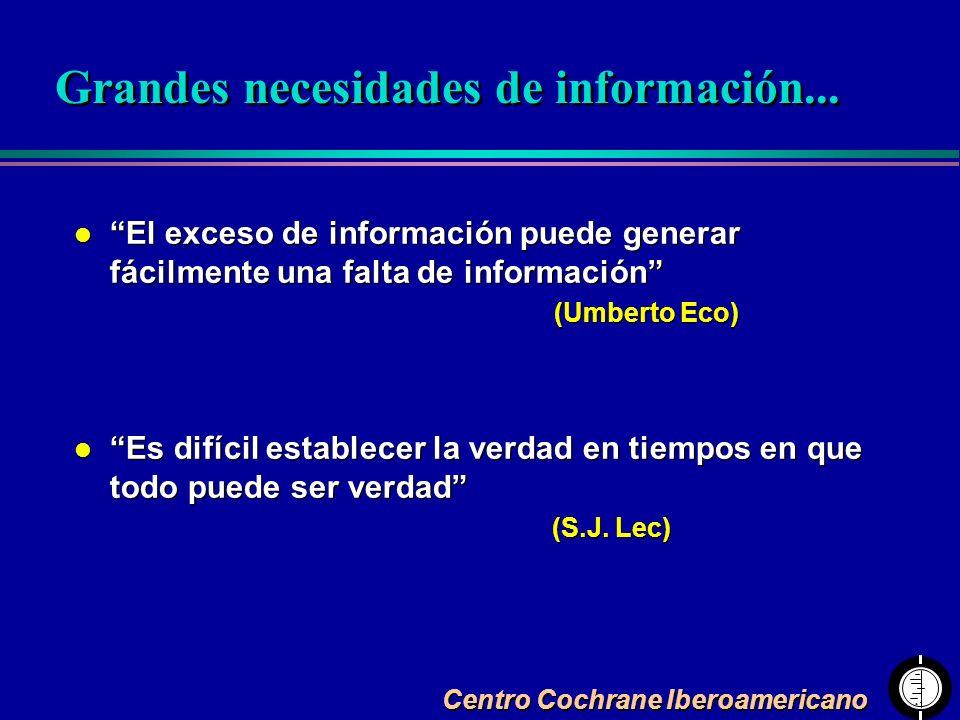 Centro Cochrane Iberoamericano l El exceso de información puede generar fácilmente una falta de información (Umberto Eco) l Es difícil establecer la v