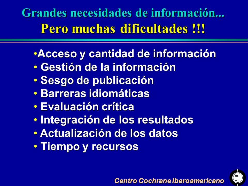 Centro Cochrane Iberoamericano Acceso y cantidad de información Gestión de la información Sesgo de publicación Barreras idiomáticas Evaluación crítica
