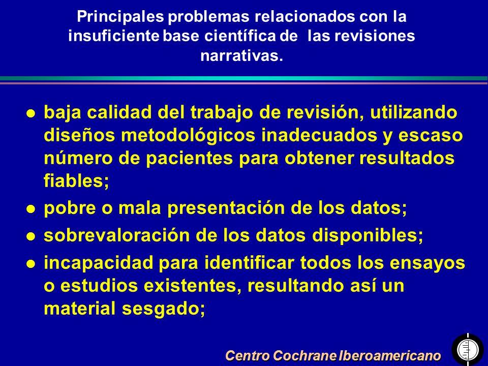 Centro Cochrane Iberoamericano Principales problemas relacionados con la insuficiente base científica de las revisiones narrativas. l baja calidad del