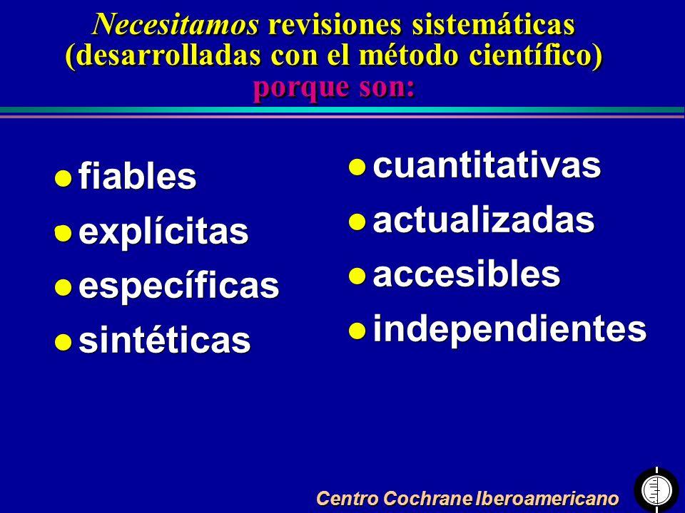 Centro Cochrane Iberoamericano Necesitamos revisiones sistemáticas (desarrolladas con el método científico) porque son: l fiables l explícitas l espec