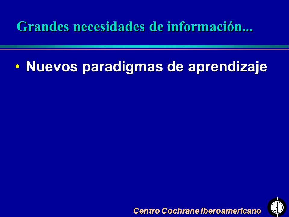 Centro Cochrane Iberoamericano Nuevos paradigmas de aprendizaje Grandes necesidades de información...