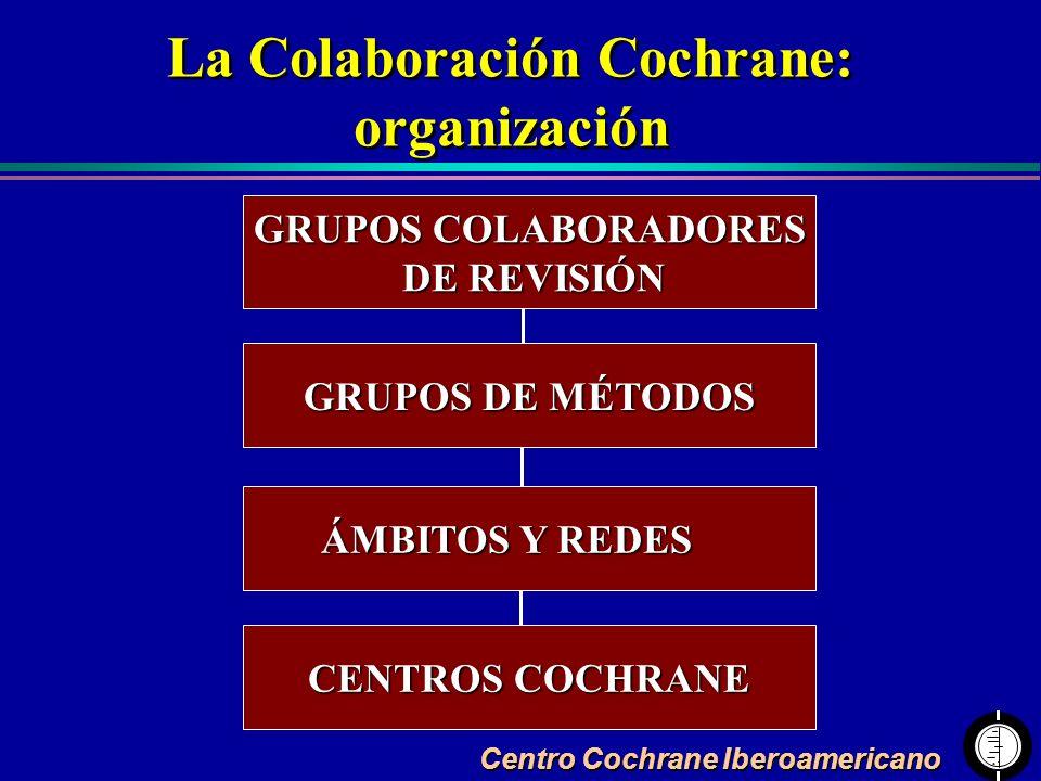 Centro Cochrane Iberoamericano La Colaboración Cochrane: organización La Colaboración Cochrane: organización GRUPOS COLABORADORES DE REVISIÓN DE REVIS