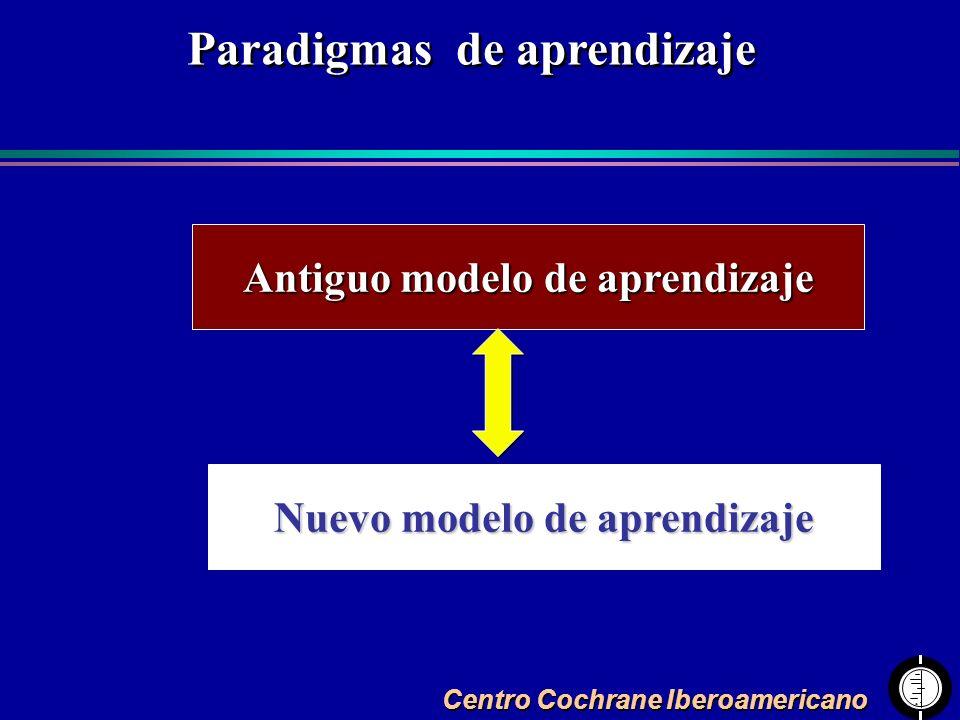 Centro Cochrane Iberoamericano Paradigmas de aprendizaje Antiguo modelo de aprendizaje Nuevo modelo de aprendizaje