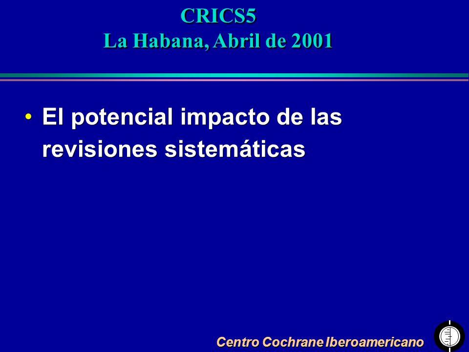 El potencial impacto de las revisiones sistemáticas CRICS5 La Habana, Abril de 2001