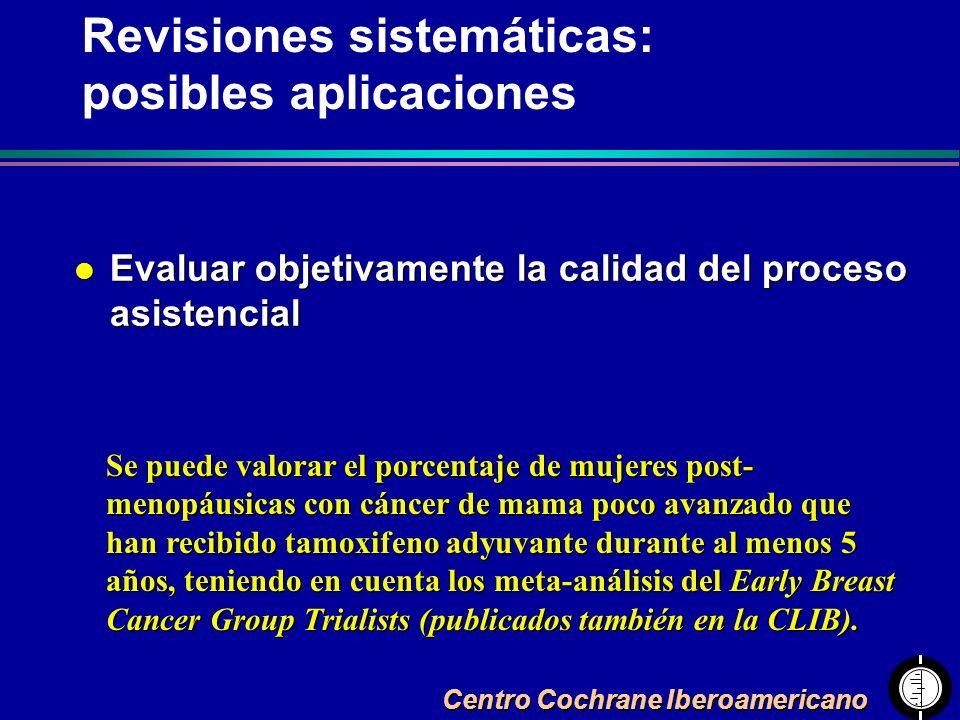 Centro Cochrane Iberoamericano l Evaluar objetivamente la calidad del proceso asistencial Se puede valorar el porcentaje de mujeres post- menopáusicas