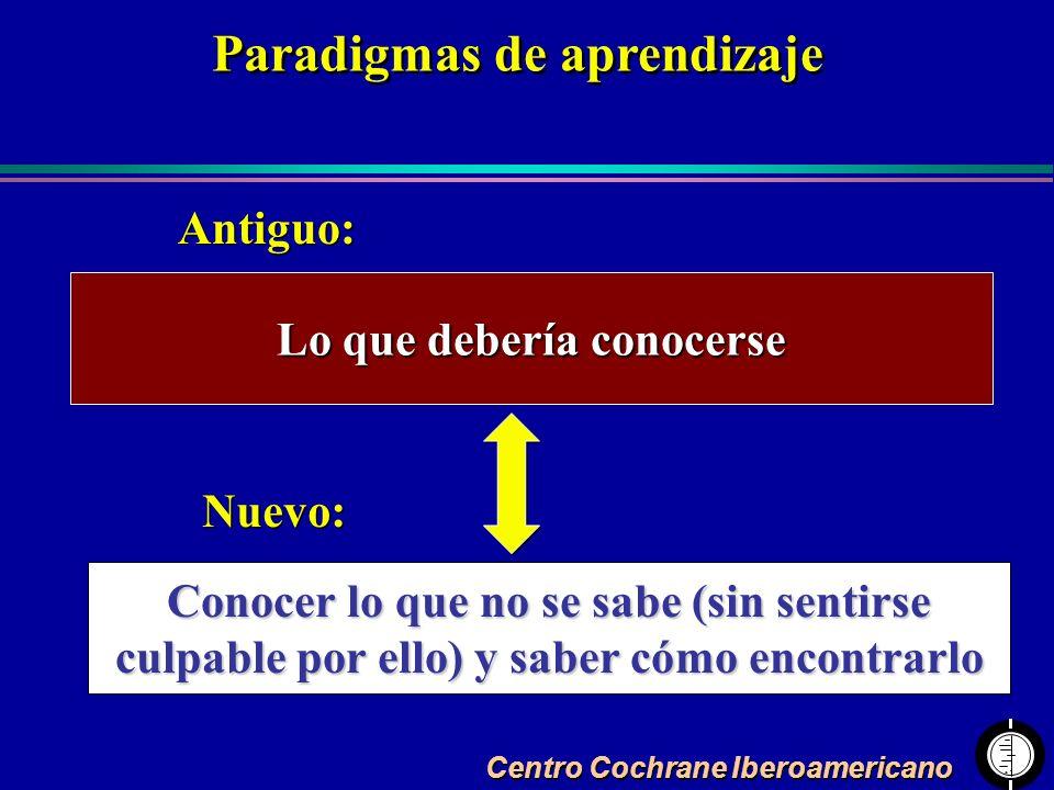 Centro Cochrane Iberoamericano Paradigmas de aprendizaje Lo que debería conocerse Conocer lo que no se sabe (sin sentirse culpable por ello) y saber c