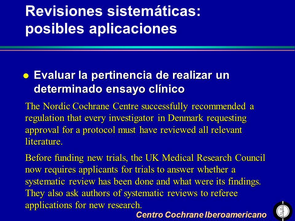 Centro Cochrane Iberoamericano l Evaluar la pertinencia de realizar un determinado ensayo clínico The Nordic Cochrane Centre successfully recommended