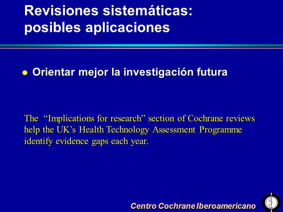 Centro Cochrane Iberoamericano l Orientar mejor la investigación futura The Implications for research section of Cochrane reviews help the UKs Health