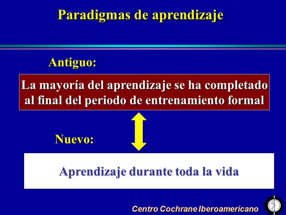 Centro Cochrane Iberoamericano La mayoría del aprendizaje se ha completado al final del periodo de entrenamiento formal Aprendizaje durante toda la vi