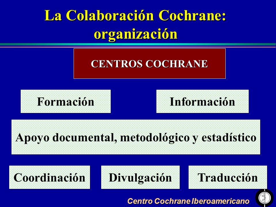 Centro Cochrane Iberoamericano La Colaboración Cochrane: organización La Colaboración Cochrane: organización CENTROS COCHRANE Formación Apoyo document