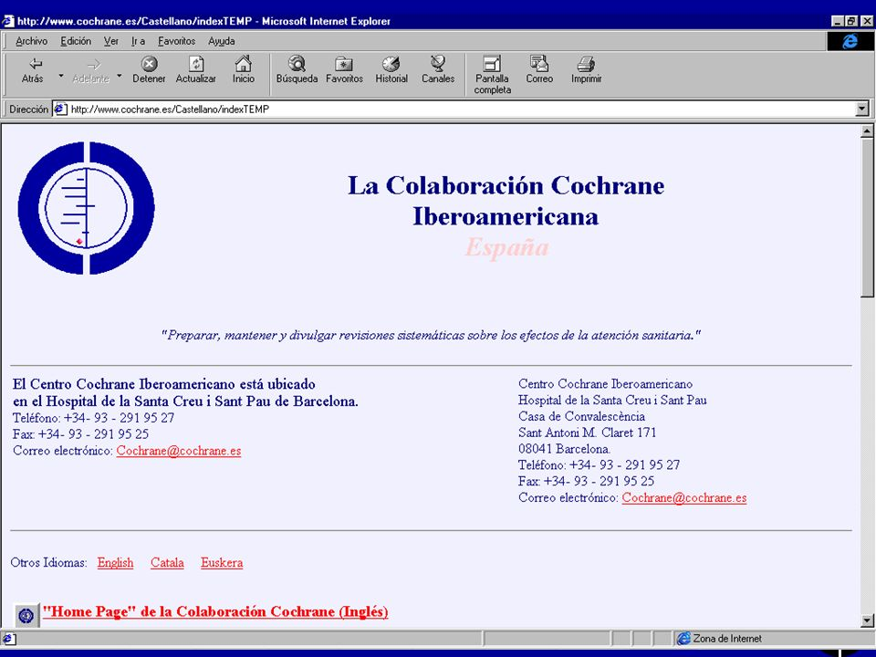 Centro Cochrane Iberoamericano l Posar pàgina web